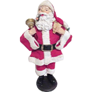 Standing Fabric-Mache Santa with Backpack