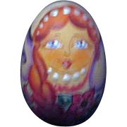 Russian signed Hand Painted Wooden Egg