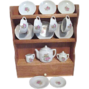 Children's Tea Set in Wooden Hutch Made in Japan Original Box Set of 4