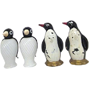 Two Pair Vintage Glass Penguin Salt and Pepper Sets