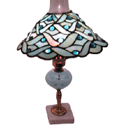 Fenton Coin Dot Blue Boudoir Lamp Base with Art Glass Blue Shade
