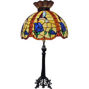 Tiffany Style Table Lamp with Humming Birds and Blue Flowers