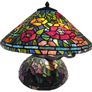 Tiffany Style Table Lamp with Flowers on Shade and Base