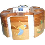 Drueke Company Wooden Poker Chip Carousel with Chips and Cards