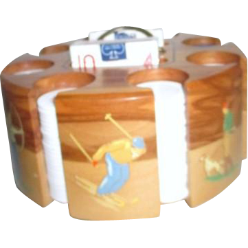 Drueke Company Wooden Poker Chip Carousel With Chips And