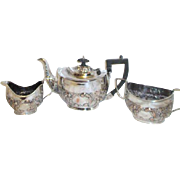 Art Nouveau 3 Piece Sheffield Silver on Copper Tea Service