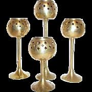 Set of 4 Brass Votive Holders with Open Work Design