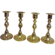 "Four 5"" High Brass Candlesticks from India"