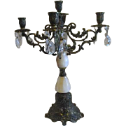 Brass and Marble 5 Candle Candelabrum with Prismatic Crystals