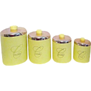 Ransburg Set of 4 Canister Set Yellow with Copper Lids