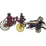 Toy Cast Iron Fireman's Boiler Wagon with 3 Horses and Fireman