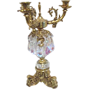 Ornamental Candelabrum with Faceted Hanging Crystals