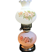 """14 1/2"""" High Night Stand Lamp with Lighted Base and Globe Wild Roses"""