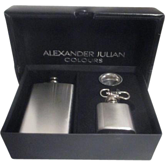 Alexander Julian Colours Mini Stainless Flask, Mini Flask and Funnel in Original Presentation Box