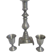 "8 1/2"" High Pewter Candle Holder and Two Small Footed Pewter Cups"