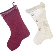 Two Brocade Christmas Stockings