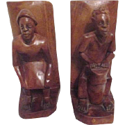 Carved Wooden Bookends African Man and Woman