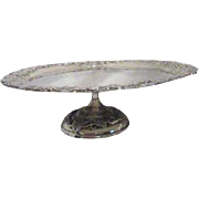 Metal Footed Cake Plate with Grapevine Motif