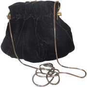Black Velvet Evening Bag with Chain Shoulder Strap