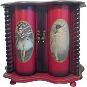 Wooden Red and Black with Ballerinas Jewelry Chest Music Box