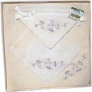 Boxed Set of 3 Embroidered Handkerchiefs Orlana Swiss Loom in Original Box