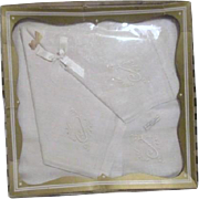 Three Boxed Monogrammed Irish Linen Handkerchiefs