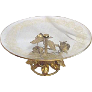 Cake Plate with Gilt Roses Support