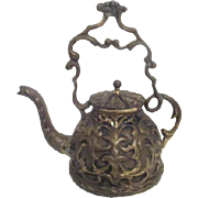 Small Brass Embossed Teapot