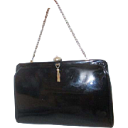 After Five Patent Leather Black Clutch Evening Bag with Attached Coin Purse
