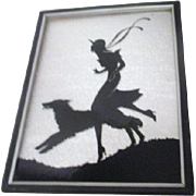 Art Deco Reverse Painting on Glass with Silver Foil Background Girl with Dog