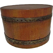 Small Wood Bucket with Lid and Leather Stamped Roger Van S New York