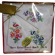 Boxed Set of 3 Lady's Embroidered Handkerchiefs