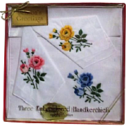 Boxed Set of 3 Lady's Embroidered Handkerchiefs with Roses