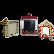 Set of Three Hallmark Christmas Tree Ornaments Photo Holders for Dogs
