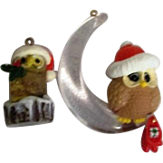 Two Christmas Owl Tree Ornaments from Hallmark