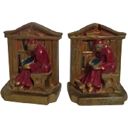 Pair of Metal Bookends with Monk in Library