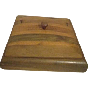 Square Lidded Striped Wood Box