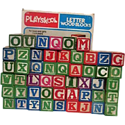 Set of 53 Playskool Wood Letter Blocks