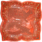 Carved Cinnabar Plate with Fishing Scene