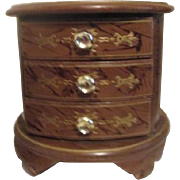 Round Wood Chest Jewelry Box