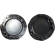Set of 2 Ornate Pewter Small Plates