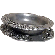 Set of Pewter Plate and Bowl with Grapevine Pattern