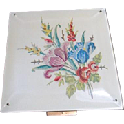 Square Compact with Faux Needlepoint Cover