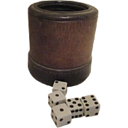 Vintage Leather Cup with 5 Dice