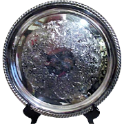 Round Silverplated Serving Tray with Ornate Etched Pattern