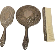 3 Piece Silverplated Vanity Set with Brush Comb and Mirror