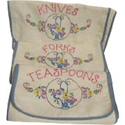 Three Embroidered Cloth Cases for Knives Forks and Spoons