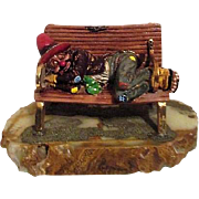 Ron Lee Sculpture Clown Hobo Sleeping on Bench