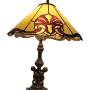 Tiffany Style Lamp with Goldtone Metal Base  with Cherubs