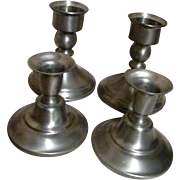 Two Pair of Pewter Candle Holders
